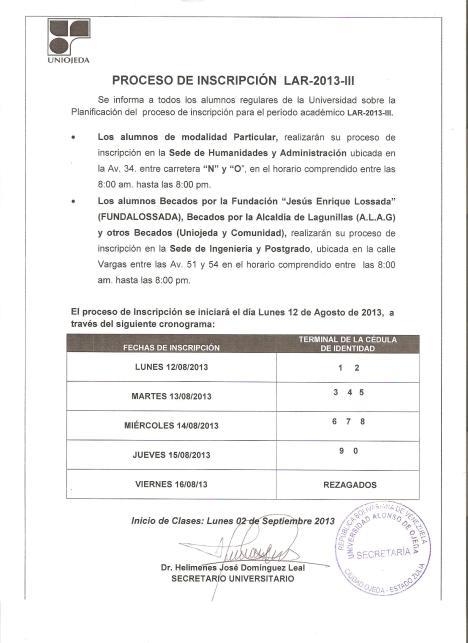 Proceso de Inscripción LAR-2013-III